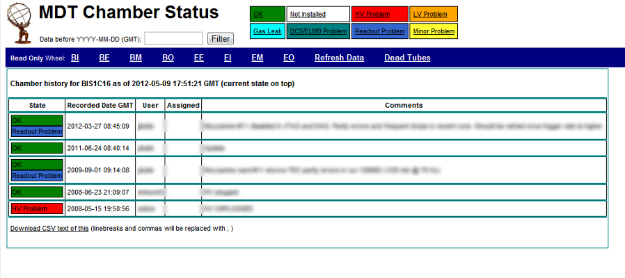 Screenshot of MDT history page